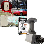 Trademark Global - Driveway Patrol and Rotating Imitation Securi - Wireless home security alarm:. Includes retail packaging. Battery not included. Receiver uses 3 C batteries and transmitter uses 1 9V battery. Completely wireless infrared alert system. Place the sensor and the receiver anywhere in your house up to 400 feet away. Receiver makes a pleasant chiming sound when sensor is crossed. Rotating imitation security camera:. Includes installation screws. Battery not included. Requires 3 AA batteries. Motion detection sensor. Panning motion. Activation led light. No wiring needed. It will deter most criminal activity. No assembly required. Security camera: 5.5 in. W x 2.13 in. D x 6.5 in. HUse to monitor the mailbox, garage, driveway or countless other places. Battery operation and 400 foot range means no wiring is necessary. When a vehicle or person passes the sensor, the receiver emits a pleasant chiming sound. Criminals will be convinced that the area is being electronically monitored and will go in search of an easier target. Fake security cameras are an easy, cost-effective way to help prevent crime at your home, office or retail location.