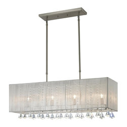 Four Light Brushed Nickel Nylon White Shade Island Light - The Aura family of linear shaded fixtures feature a stunning double line of multi faceted pyramid crystal. This fixture features a white string shade. In all cases the fixtures are finished with brushed nickel.