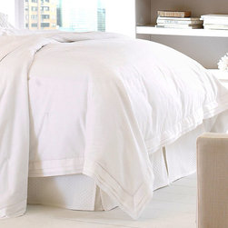 Gigi Duvet Cover, Queen - Layers of crisp folds outline the Gigi Duvet Cover - sleek, smart dressmaker details that elegantly disguise the underlying practicality of this imported choice, made from washable 100% cotton pique. Experience the versatility of tailored bedding and neutral, durable fabrics with this duvet cover as an integral part of your linen closet for the guest room or master suite.