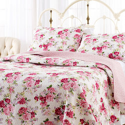 Laura Ashley - Laura Ashley Lidia 100-percent Cotton 3-piece Reversible Quilt Set - This Laura Ashley Lidia Reversible Quilt Set is composed of soft and comfortable 100-percent cotton with a cute pink floral pattern. The traditional machine washable set includes at least one matching sham.