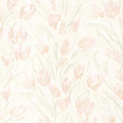 Brewster Home Fashions - Jessamine Blush Tulips Wallpaper Bolt - A dreamy wall covering of pink satin tulips to inspire a sweet and romantic look in your room.