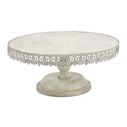 """Benzara - Metal 10"""" H Cake Stand with Soft White Polish in White Color - Metal 10"""" H Cake stand with soft white polish in white color. This cake table in brilliant white polish is surely to be the center of attraction at any party or occasion that involves a cake cutting ceremony.  It comes with a dimension of 22"""" W x 10"""" H. Some assembly may be required."""