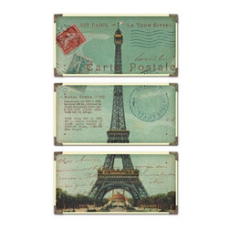 Uttermost Eiffel Tower Carte Postale S/3 - The prints are laminated to wood boards. Each board has antique brass corner accents and decorative screws. Each panel is 12x23.