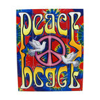 Brightly Painted Tie-Dye Peace Dove Wooden Slat Wall Hanging - This brightly painted wooden (medium density fiberboard) slat wall hanging is a great addition to the home, office, or garage of current or past hippies. It measures 20 inches tall, 16 inches wide, and features a pink peace symbol with a pair of doves, against a tie-dye background, with the word Peace in a psychedelic font printed right side up at the top and upside down at the bottom. It has a wire hanger on the back, and can hang with one or two nails or picture hangers. It makes a great gift, and is sure to be admired.