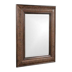 Howard Elliott Grant Antique Brown Mirror - Our Grant Mirror features a Antique Brown with Textured Copper Metal Overlay on a wood frame.