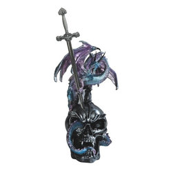 GSC - 16 Inch Blue Dragon Standing Over Skull with Sword - This gorgeous 16 Inch Blue Dragon Standing Over Skull with Sword has the finest details and highest quality you will find anywhere! 16 Inch Blue Dragon Standing Over Skull with Sword is truly remarkable.