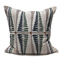Kathy Kuo Home - Sanford Fern Peacock Blue Natural Square Hand Embroidered Pillow - Hand embroidered pillows in linen and silk are sumptuously oversized and generously filled with down and feathers - tossed on a bed or a gathered on a sofa, create a lasting personal touch.