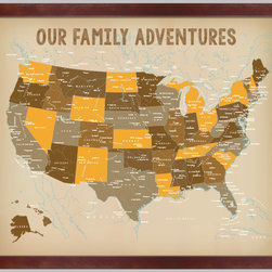 Urban Tickle/Textured Ink - USA Push Pin Family Map, Map for marking your travels, Dark Brown Frame - This is a one of a kind push pin travel map with gorgeous details and exclusively made in our studio. You will not find this anywhere else.