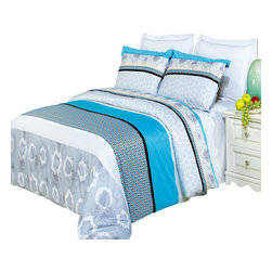 Bed Linens - Alyssa Printed Multi-Piece Duvet Set King/California King 4PC Comforter Set - Enjoy the comfort and Softness of 100% Egyptian cotton bedding with 300 Thread count fiber reactive prints.*100% Egyptian cotton *300 Thread count *Reactive Print, lasts longer and looks like real live pictures .