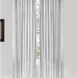 Vintage House Otavia Tab Tap Curtain Panel Pair - Silver - Adorn your windows with the sleek Vintage House by Park B. Smith Otavia Tab Tap Curtain Panel Pair – Silver. Made of a quality blend of cotton and lurex, this pair of curtain panels comes in a striking silver and white stripe that adds drama to any living space. The back tab design lends modern appeal and makes it a breeze to hang.