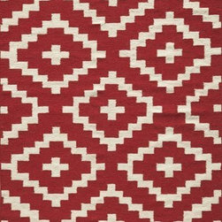 Momeni - Momeni Aguna Lg04 Red Rug - Geometric patterns, vibrant colors and chic simplicity all collaborate to make the flat-weave Dhurry collection, Laguna.  Made in India of 100% wool, Laguna utilizes a vibrant color palette that plays off geometric patterns often found in paving sto