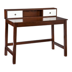 Holly & Martin - Brody Desk - It isn't every day that you find the desk of your dreams, the one that fits both your taste and needs so perfectly. This espresso and white desk makes a great style statement without taking over the room.