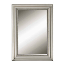 Uttermost - Uttermost 12005 B Stuart Silver Beaded Mirror - Wood Frame in Silver Leaf w/ a Gray Glaze