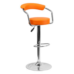 Flash Furniture - Orange Vinyl Adjustable Height Bar Stool with Arms and Chrome Base - This dual purpose stool easily adjusts from counter to bar height. This retro style stool with arms will look great around the bar or kitchen. The easy to clean vinyl upholstery is an added bonus when stool is used regularly. The height adjustable swivel seat adjusts from counter to bar height with the handle located below the seat. The chrome footrest supports your feet while also providing a contemporary chic design.