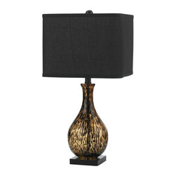 AF Lighting - Kenthal Table Lamp in Black Glass with Modern Shade - Our Kenthal table lamp in black is crafted in blown glass in tortoise, sitting on a black resin square base. The shade is a modern style square with rounded corners in black poly cotton linen. Marching finial. Our Kenthal table lamp brings a touch of the unexpected to any d�cor with it's hand-crafted base and shade. Due to hand-crafting, no two table lamps are exactly alike.