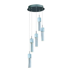 ET2 - ET2 Fizz III 5-Light LED Pendant - This ever popular collection is now better than ever. High output LEDs now illuminate the bubble glass pendants. These LED modules produce 20% more light, 90% less heat, 25 time longer life, and 75% less energy than the previous halogen lamp. You also still have dimming capability.