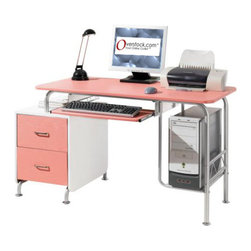 None - Deluxe Pink Cosmo Computer Desk Workstation - Add a girly touch to your work space and personalize your desk with a modern Pink Cosmo computer desk workstation. This ergonomic design includes two storage drawers, a roll-out keyboard tray with a safety stop, and a spacious desk top.