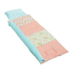 Janiebee Quilted Nap Mats - Sweet Peach Quilted Nap Mat by Janiebee - Peche Douce or Sweet Peach, inspired by gorgeous fabrics in peach, Tiffany blue, green and white.Topped with Tiffany blue minky blanket and pillowcase. Let her nap in luxurious comfort. Only from janiebee!