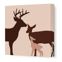 "Avalisa - Animal - Deer Stretched Wall Art, 12"" x 12"", Brown - This endearing work of art will brighten your walls and warm your heart. Each piece is printed on fabric and applied to stretchers for a straight-from-the-gallery look. It would make a wonderful addition to a child's room or nursery."