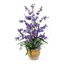 Nearly Natural - Nearly Natural Dancing Lady Silk Orchid Arrangement in Purple - Brighten up your favorite living areas with this silk Dancing Lady Orchid arrangement. This silk arrangement features dozens of full blooms, gorgeous green leaves, complimenting sprigs of grass and a hint of curly willow. Standing 26 in height and finished with a stylish ceramic pot this piece is sure to promise long-lasting beauty. Height: 26 inches, Vase: H: 5.25 in, W: 6.75 in