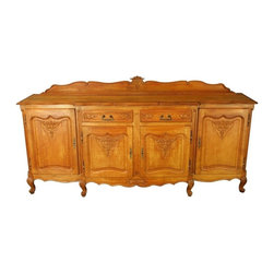EuroLux Home - Consigned Vintage French Country Louis XV Oak Server - Product Details