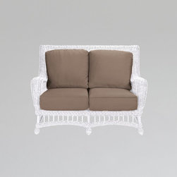 "Gazebo loveseat - In traditional style, the Gazebo Loveseat will look great on a porch, outdoor or even indoors for a relaxed cottage look.  Designed in vinyl ""wicker"" for all-weather wear."
