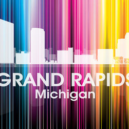 Grand Rapids MI Vertical Lined Rainbow Print - Celebrate the Grand Rapids skyline with this vibrant, graphic digital and photographic layered print. Designer Angelina Vick has created a modern rainbow over this Michigan city, that follows a unique vertical trajectory you'll love to showcase on your wall.