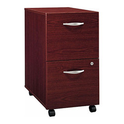 Bush Business - File Cabinet in Mahogany w Casters - Series C - Our popular Two-Drawer File in Mahogany was designed with the modern office in mind.  The 28 inch high file fits easily under standard desks, features a single gang lock to secure both drawers and rolls smoothly on heavy duty casters.  You can affordably upgrade to mahogany finished file cabinets.  Casters give them the mobility needed in a busy and often crowded office.  Tuck them under a desk when you're away or move them to the most convenient spot for easier access. * Casters allow easy mobility. File fits under desks. Each drawer holds letter, legal and A4-size files. One gang lock secures both drawers. Drawers open on full-extension ball bearing slides. Ships ready for easy assembly. 15.709 in. W x 20.276 in. D x 28.110 in. H