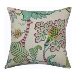 "The Pillow Collection - Elodie Floral Pillow Teal 18"" x 18"" - Add a vibrant and fun atmosphere in your home with this gorgeous floral throw pillow. This accent pillow looks great on sofas, beds and other furnishing. The floral print pattern comes in Teal shades set against a cream background. The beautiful flowers feature soft colors of blue, red, green and yellow. The fabric of this decor pillow is made of durable and soft 100% cotton fabric. The accent pillow looks great when paired with other complementing colors. Hidden zipper closure for easy cover removal.  Knife edge finish on all four sides.  Reversible pillow with the same fabric on the back side.  Spot cleaning suggested."