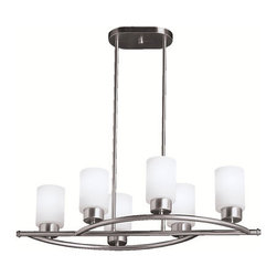 Kichler - Modena Six-Light Convertible Chandelier - Immerse your room in a wealth of sophistication with this divine chandelier.  Its lustrous brushed nickel finish defines the bold lines that showcase the satin etched cased opal glass shades.  This bold piece can also be mounted close to the ceiling, giving you great design flexibility.  This exceptional piece will treat the eye to a dose of elegance as it enhances the beauty of your home.  Please note that this piece includes 112 inches of extra lead wire.   Kichler - 3031NI