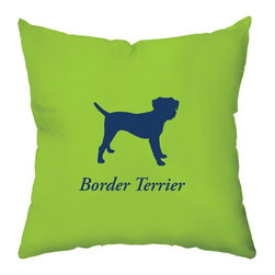 Checkerboard Ltd - Border Terrier Decorative Throw Pillow - 18 inch by 18 inch - Silhouette of a border terrier on the front proudly proclaiming the breed with the back of pillow featuring a houndstooth pattern. Our softly textured fabric is long-lasting, wrinkle-resistant and feels as great as it looks.
