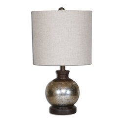 Uttermost - Uttermost 26208-1 Arago Antique Glass Table Lamp - Heavily Antiqued Mercury Glass Accented With Aged Mango Wood Details.