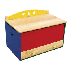 Guidecraft - Guidecraft Moon and Stars Toy Box - Guidecraft - Toy Boxes & Chests - G98038 - Cheerful primary colors and whimsical moon and star cut-outs highlight this fun and versatile collection.