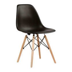Mid-Century Slope Chair in Black - Our Mid-Century Slope Chair is an ingenious design inspired by an iconic manufacturing process of the 1950s and 1960s. The original was born out of technological advancements that allowed a chair to be constructed out of a single mold of fiberglass. With the original mold no longer in production, today's designers have improved this process even further, resulting in a comfortable, stylish, lightweight chair. Replacing fiberglass with more eco-friendly polypropylene, the current iteration takes this incredible design and makes it accessible and modern, featuring a smooth polypropylene seat that contours to your body. This chair is also one of our most versatile pieces, fitting in at the dinner table, conference table, or anywhere else you're looking to add some seating.