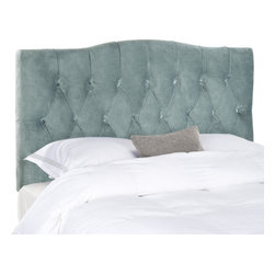 Safavieh - Axel Full Tufted Headboard - Wedgwood Blue - Dress up a guest room or master suite with the deeply tufted Axel full/queen headboard. With posh button-tufted upholstery in lush Wedgwood Blue velvet, this comfortably padded, gently curved headboard evokes images of 1930s Hollywood glam. Attaches to any standard size metal frame bed.