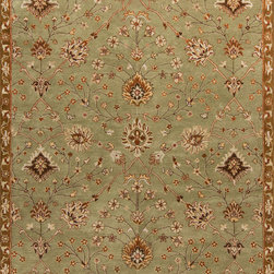 "Surya - Surya Kensington KEN-1043 (Green) 5' x 7'9"" Rug - Intricate traditional designs are the cornerstone of the Kensington Collection. This collection combines the pattern and feel of traditional rugs, but provides an updated and modern color palette. The color combinations of these rugs were chosen to reflect the trends of the modern furniture market, to create an easy and comfort when adding the rugs to a home. These rugs are hand tufted from 100% wool. The ''Pantone'' colors include: Dark Chocolate (19-1012), Teal Blue (19-4820), Putty (13-0711), Caramel (15-1225), Khaki (15-1217), Maroon (19-1656), Cinnamon Spice (18-1244), Turtle Green (18-0527), Caviar (19-4006), Shadowy Mauve (16-1509)"
