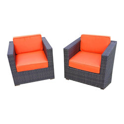 Amazonia - Bellagio Arm Chair w Orange Cushion - Set of 2 - Set of 2. Aluminum and Synthetic Wicker frame. Free feron gard vinyl preservative for longest strap durability. It works great against the effects of air pollution salt air, and mildew growth. For best protection, perform this maintenance every season or as often as desired. Dark Brown Wicker. Orange Cushion. Great functionality. Water Repellent Polyester Cushions. Warranty: 1 year. 31.5 in. W x 31.5 in. D x 27 in. HGreat quality, stylish design patio sets, made of aluminum and synthetic wicker. Polyester cushion with water repellant treatment. Enjoy your patio with elegance all year round with the wonderful Atlantic outdoor collection.