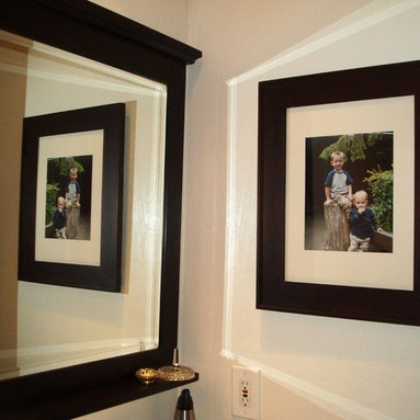 Recessed Picture Frame Medicine Cabinets with No Mirrors - Large Coffee Bean Concealed Cabinet with white interior from ConcealedCabinet.com.  You insert your own artwork and change it as often as you like!