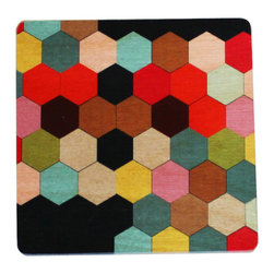 Bottega Coaster Set - An ultra chic and artistic way to add playful colors to any room, the Bottega Coaster Set is unique and delightful. You'll be pleasantly surprised at how well these colors combine in the most unassuming way.