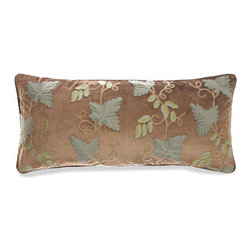 Pine Cone Hill - grapevine crewel pillow (15x35) - Designed in the Berkshires of Massachusetts, every item from the pine cone hill bedding collection has been tailored from high quality imported textiles in a variety of versatile neutrals, vibrant hues and engaging patterns. Choose from textiles that weave a complementary theme throughout your entire bedroom and beyond. Many patterns and colors are available in blankets, duvets. throws, decorative pillows, shams and bed skirts.