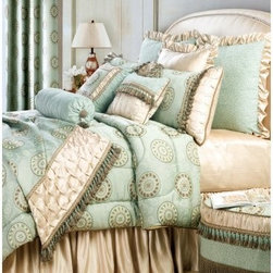 Jennifer Taylor Fortune Comforter/Duvet Set - A soft, soothing color palette and artful design elements make the Jennifer Taylor Fortune Comforter/Duvet Set a sumptuous choice for your master bedroom. This beauty blends aqua green and soft sand with coin detailing and luxurious textures. This bedding collection is available in several size options, each with coordinating pillow shams finished with heavy texture, flirty tassels, and soft ruching.Additional Details10-piece set: 1 comforter/duvet: 110 x 96 inches1 bed skirt: 78 x 80 inches (18-inch depth)3 Euro shams: 26 x 26 inches2 kings shams: 21 x 37 inches3 décor pillows9-piece set: 1 comforter: 93 x 96 inches1 bed skirt: 60 x 80 inches (18-inch depth)2 Euro shams: 26 x 26 inches2 standard shams: 20 x 27 inches3 décor shams4-piece set: 1 comforter: 104 x 96 inches1 bed skirt: 60 x 80 inches (18-inch depth)2 king shams: 21 x 37 inchesAbout ACG Green Group, Inc.ACG Green Group is a home furnishing company based in Irvine, California and is a proud industry partner with the American Society of Interior Designers. ACG Green features Jennifer Taylor and Sandy Wilson, their exclusive home décor lines. These two complete collections offer designer home furniture, bedding sets, dining linens, curtains, pillows, and more in classic silhouettes, original designs, and rich colors to complement your home and life.