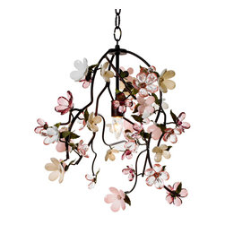 Racine Chandelier - Small - A clever and romantic lighting piece with inspirations drawn from the perfect springtime of a fantasy orchard, the Racine Chandelier is a study in gorgeous pinks which, despite its traditional color palette and unsubtle whimsy, looks relevant and updated in your home.  Conveying a dreamy look in a nursery or sunroom, where it serves as sculpture by day and ceiling light by night, the chandelier has six bright bulbs disguised in a dark frame.