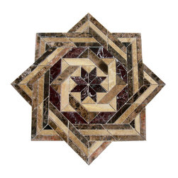 "Floor Medallions Online - 36"" Mosaic Medallion - Vallarta - A modern mosaic floor medallion that combines intertwined square patterns."