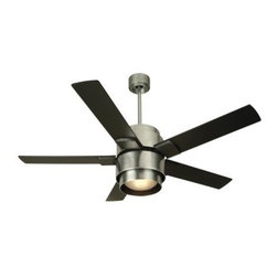 "Craftmade SI56BA Silo 56-in. Indoor Ceiling Fan - Brushed Aluminum - Boasting exceptional air movement, unique contemporary styling, and lasting quality, the Craftmade SI56BA Silo 56-in. Indoor Ceiling Fan - Brushed Aluminum makes a delightful addition to any room of your house. Five 56-inch blades circulate air with ease, thanks to the 188 x 15mm motor, while three speed reversible settings let you control the airflow to match your level of comfort. You'll love how the smooth brushed aluminum finish with custom black blades enhances its updated look. The integrated light kit with one 26W GU24 compact fluorescent bulb offers illumination, while the TCS remote control lets you change the three fan speeds and the reverse at the touch of a button.Additional information:Amps (at high speed): 0.7Watts (at high speed): 78RPM (high-med-low): 196-115-70Airflow (cubic feet per minute): 6183Airflow efficiency (cubic feet per minute per watt): 79Comes with 30-year limited warrantyAbout CraftmadeCraftmade International has designed and distributed its line of superior quality ceiling fans and lighting kits since 1985. Based in Coppell, Texas, Craftmade's extensive product line includes 20 series and 127 models of ceiling fans and over 100 compatible lighting fixtures in a variety of colors and finishes. This company has been awarded one of the """"Top 200 Best Small Companies in America"""" by Forbes magazine. And according to Consumer Digest, """"Craftmade has earned a reputation as one of the most reliable makers of ceiling fans."""" The ceiling fans in the Craftmade line are among the most durable and energy-efficient models available on the market, featuring an ingenious blend of function and decoration."
