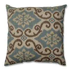 Pillow Perfect - Shoreham Spray 16.5-inch Throw Pillow - Add the perfect blend of style and comfort to any space in your home with this 16.5 inch aqua and brown damask throw pillow from Pillow Perfect. This decorative pillow features knife edging and is suitable for indoor/outdoor use.