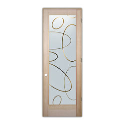 "Sans Soucie Art Glass (door frame material T.M. Cobb) - Glass Front Entry Door Sans Soucie Art Glass Ovals Overlap Negative - Sans Soucie Art Glass Interior Door with Sandblast Etched Glass Design. GET THE PRIVACY YOU NEED WITHOUT BLOCKING LIGHT, thru beautiful works of etched glass art by Sans Soucie!  THIS GLASS IS SEMI-PRIVATE.  (Photo is View from OUTside the room.)  Door material will be unfinished, ready for paint or stain.  Satin Nickel Hinges. Available in other wood species, hinge finishes and sizes!  As book door or prehung, or even glass only!  1/8"" thick Tempered Safety Glass.  Cleaning is the same as regular clear glass. Use glass cleaner and a soft cloth."