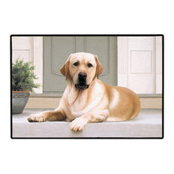 165-Yellow Lab-Porch Doormat - 100% Polyester face, permanently dye printed & fade resistant, nonskid rubber backing, durable polypropylene web trim on the porch or near your back entrance to the house with indoor and outdoor compatible rugs that stand up to heavy use and weather effects