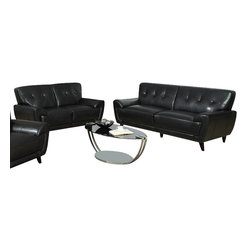 Monarch Specialties - Monarch Specialties 8803BK 2-Piece Living Room Set in Black Leather - This modern black bonded leather sofa will make a wonderful addition to your living room. Its contemporary shape enhances any room with its plush back, box seat cushions and slightly angled lines. The stitching and button tufted design enhances the look of this sofa, while still offering you ample room. The chic design creates an inviting feel, and solid feet provide sturdy support this piece. It is also a perfect match with the chair and love seat.