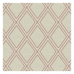 Red Stitched Diamond Trellis Fabric - Subtle red & tan embroidered trellis is as beautiful and classic as a perfecly diamond.Recover your chair. Upholster a wall. Create a framed piece of art. Sew your own home accent. Whatever your decorating project, Loom's gorgeous, designer fabrics by the yard are up to the challenge!