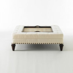 Tray Chic Ottoman - The perfect solution for today's relaxed reading nook is this all-in-one piece that's part coffee table, part ottoman, part removable tray. Put your feet up without a worry in the world on this quality piece. Even the shagreen tray is waterproof!